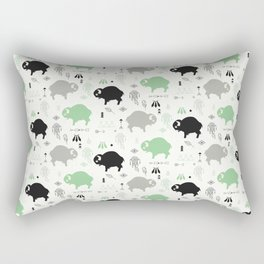 Seamless pattern with cute baby buffaloes and native American symbols, white Rectangular Pillow