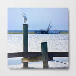 the egret and the shipwreck Metal Print
