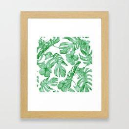 Tropical Island Leaves Green on White Framed Art Print