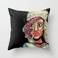 tank girl Throw Pillows featuring Tank Girl by N3RDS+INK