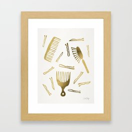 Good Hair Day – Gold Palette Framed Art Print