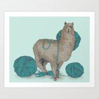 lama Art Prints featuring Lama by Anoukisch