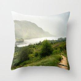 Scottish Highlands Landscape Panorama Throw Pillow