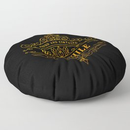 Gold Bibliophile on Black Floor Pillow