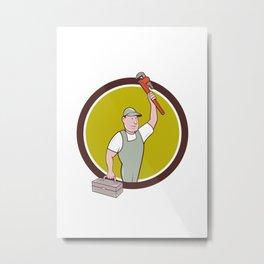 Plumber Toolbox Raising Monkey Wrench Circle Cartoon Metal Print