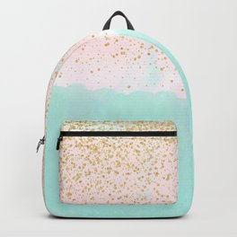 Watercolor abstract and golden confetti design Backpack