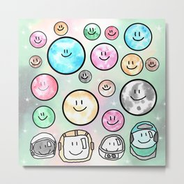 Spacemen illustrated mixed media art. Cute moons with smiley faces. Metal Print