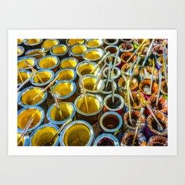 Mate Cups on Sale at Fair Street, Montevideo, Uruguay Art Print