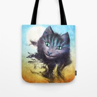 cheshire Tote Bags featuring Cheshire Cat by Diogo Verissimo