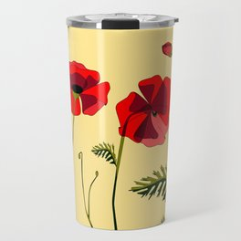 Adorable Red Poppies Unfold Travel Mug