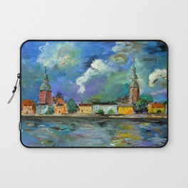 A Night of Color in Riga Laptop Sleeve