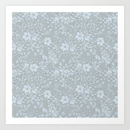 Abstract Geometric - kind of damasc french style wallpaper  - light blue and gray Art Print