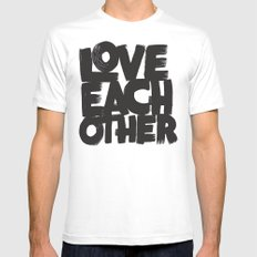 Love Each Other MEDIUM White Mens Fitted Tee