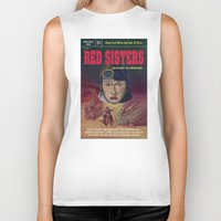 """book cover Biker Tanks featuring """"Red Sisters"""" Book Cover by 7 Hells: Retro Horror art of Bill Rude"""