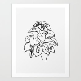 Hand Drawn Tropical Flower Line Art Art Print