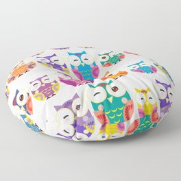 pattern - bright colorful owls on white background Floor Pillow