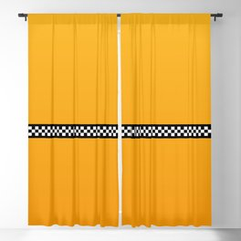 NY Taxi Cab Yellow with Black and White Check Band Blackout Curtain