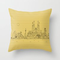 barcelona Throw Pillows featuring Barcelona by Lele Gastini