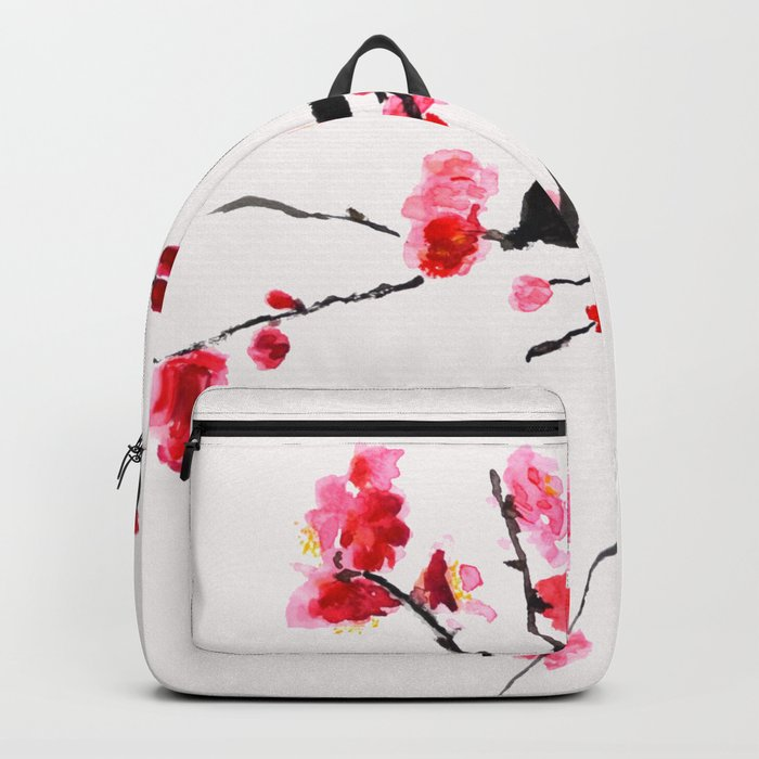 red plum flower red background Backpack