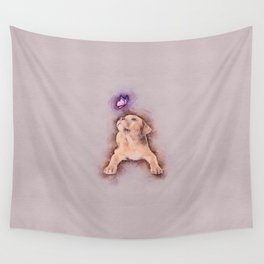 Staffordshire terrier Puppy with Butterfly Wall Tapestry