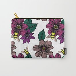 Bright Floral with Bees Carry-All Pouch