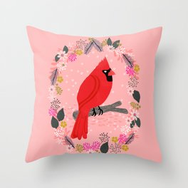 Northern Cardinal by Andrea Lauren  Throw Pillow