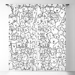 Dog Doodle Art Blackout Curtain