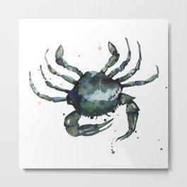 Crab, nautical art, seashore creatures, crab watercolor, natural crab painting, crab pillows,  Metal Print