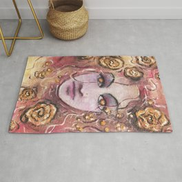 Ajleen floating in Gold Rug