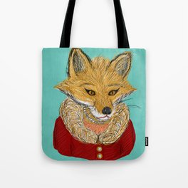 Sophisticated Fox Art Print Tote Bag
