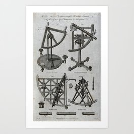 Illustrations of Hadley's Sextant and Quadrants (1790) Art Print