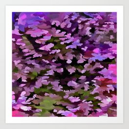 Foliage Abstract Pop Art In Ultra Violet and Purple Art Print