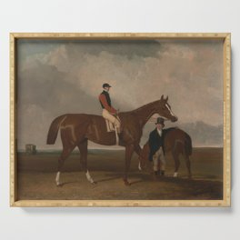 Abraham Cooper - 'Elis' at Doncaster, Ridden by John Day, with his Van in the Background (1836) Serving Tray