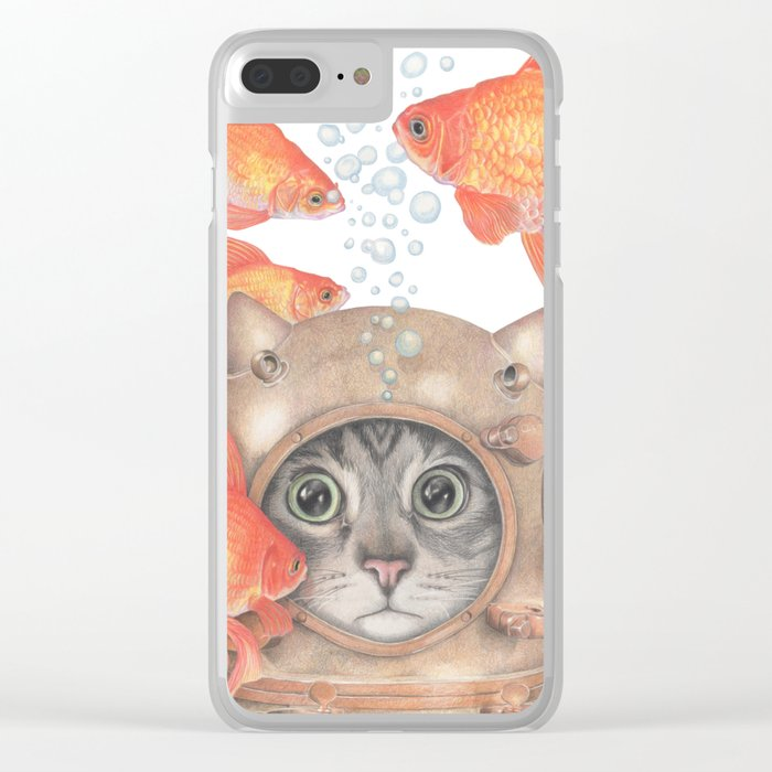 Scuba Cat Among the Fishes Clear iPhone Case