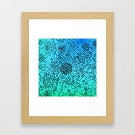 Flower Zen: Blue-Green Fade Framed Art Print