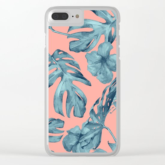 Island Life Teal on Coral Pink Clear iPhone Case