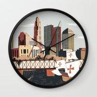 ohio Wall Clocks featuring Columbus, Ohio by Sam Brewster