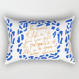 Picasso Quote in Cobalt and Gold Rectangular Pillow