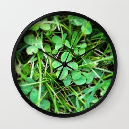 4 leave clover - good luck Wall Clock