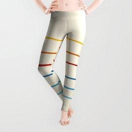 Bright Classic Abstract Minimal 70s Rainbow Retro Summer Style Stripes #1 Leggings