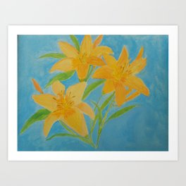 Yellow Day Lily Trio Acrylic Painting Blue Background by Rosie Foshee Art Print