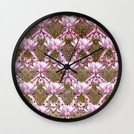 Art Deco Pink Lotus Pattern Wall Clock