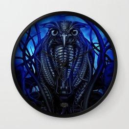 Mechanical Owl - Blue Wall Clock