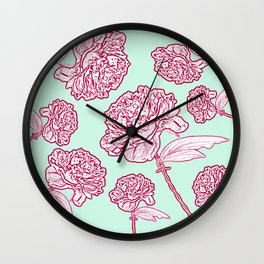 Barbed Wire Peony Floral in Coral Pink & Aqua Wall Clock