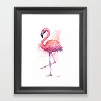 Pink Flamingo Watercolor Tropical Bird Framed Art Print
