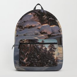 Winter Sunrise Lakeside in the Mountains by Ivan Fedorovich Choultsé Backpack