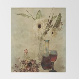 Wine And Wildflowers Throw Blanket