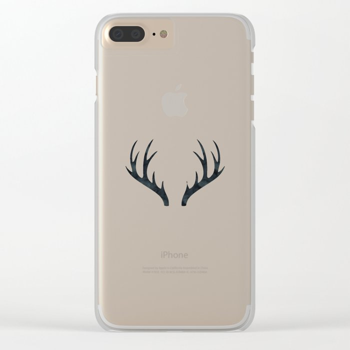 Antlers Black and White Clear iPhone Case