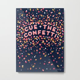 Cue the Confetti – Navy Palette Metal Print