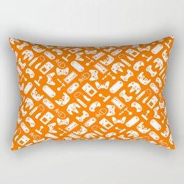 Control Your Game - White on Orange Rectangular Pillow